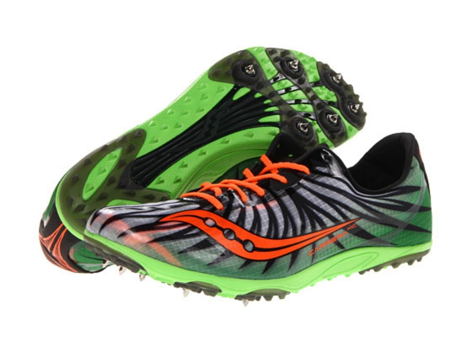 Uomo Saucony Carrera XC Slime Green Orange Spike Running Athletic Shoe Size 13 14