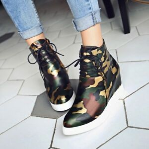 Women-Camouflage-Hidden-Wedge-Heel-Ankle-Boots-Lace-up-High-Top-Shoes-Creepers