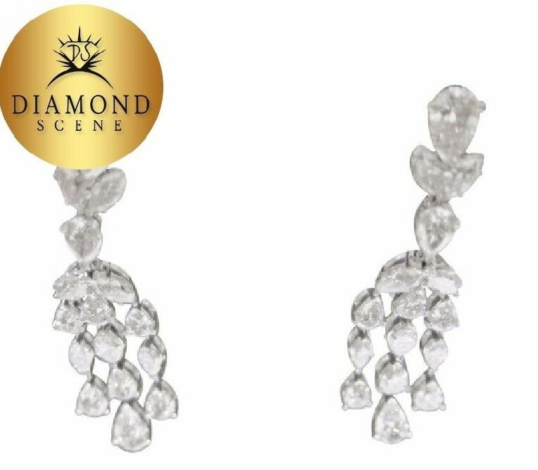 DIAMOND EARRING PEAR MARQUISE SHAPE DANGLE STYLE SET DIAMOND EARRING