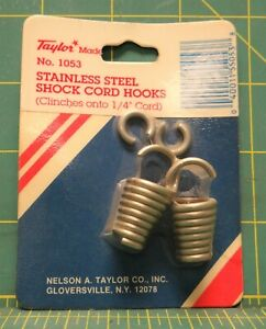 Pkg-of-2-Stainless-Steel-Shock-Cord-Hooks-Clinchs-onto-1-4-034-Cord-No-1053