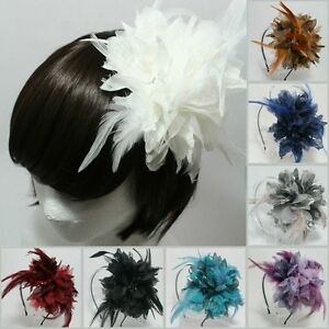 FEATHER-HEADBAND-BRIDAL-WEDDING-HAIR-ACCESSORIES-HEADPIECE-UNIQUE-FASCINATOR-HAT
