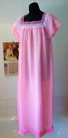Vintage 1960's Nylon Pink Long Nightie M 36-38 Chest Unworn