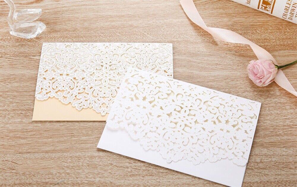 Découpe Laser Impression Personnalisé Mariage Invitation Carte Parti dentelle fleurie Seals