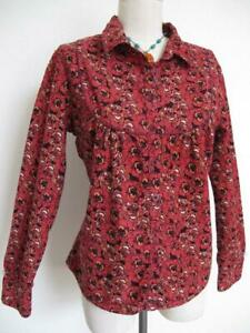 Anthropologie-Fei-Corduroy-Blouse-Shirt-Top-12-M-Rose-Wine-amp-Peach-Floral-Print