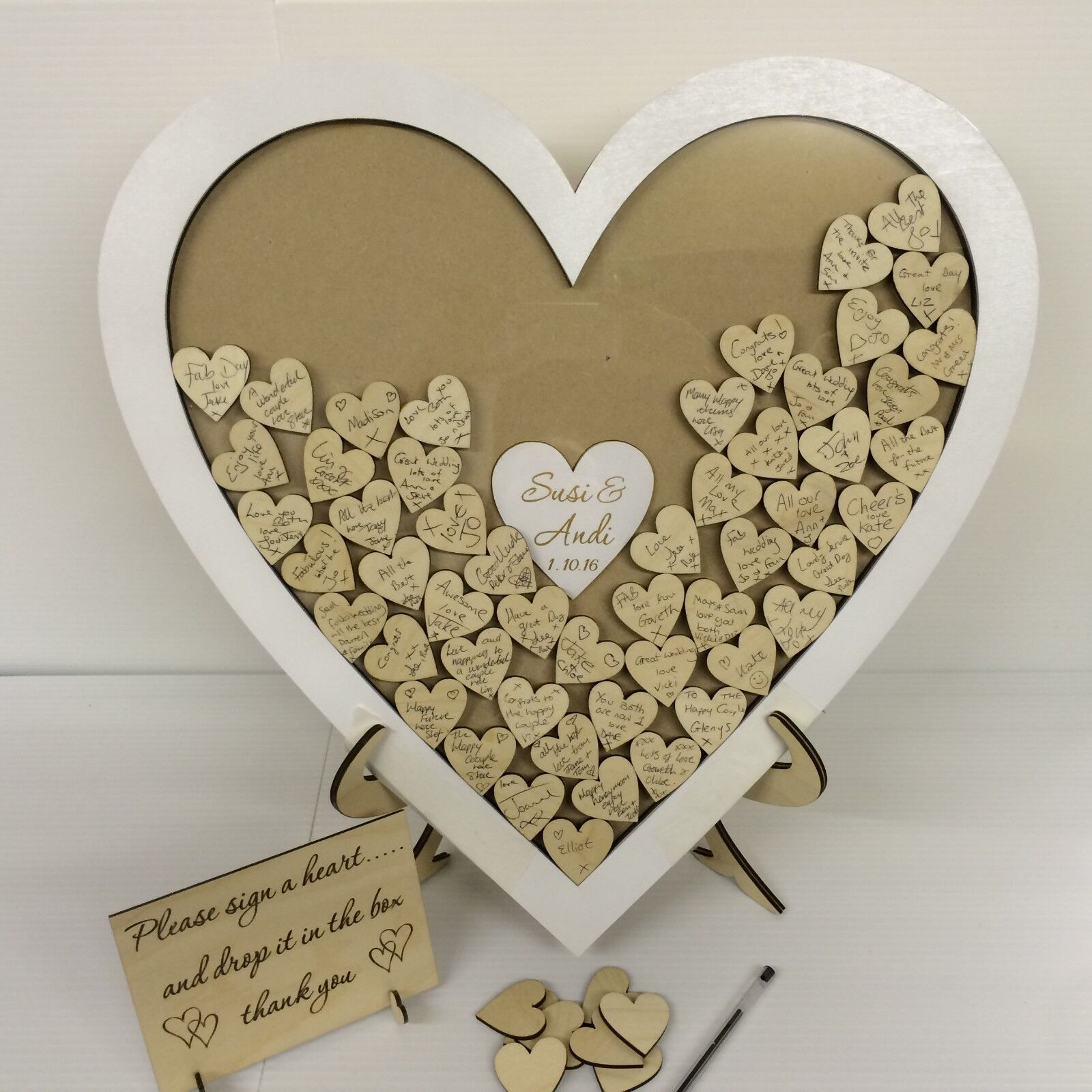 Personalised Weiß wedding heart shaped guest book drop box wooden 144 hearts