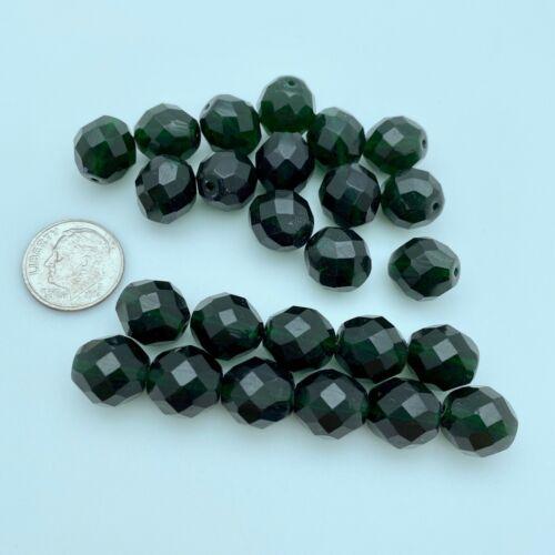 12mm GCG25 Vintage Dark Green Czech Faceted Round Beads