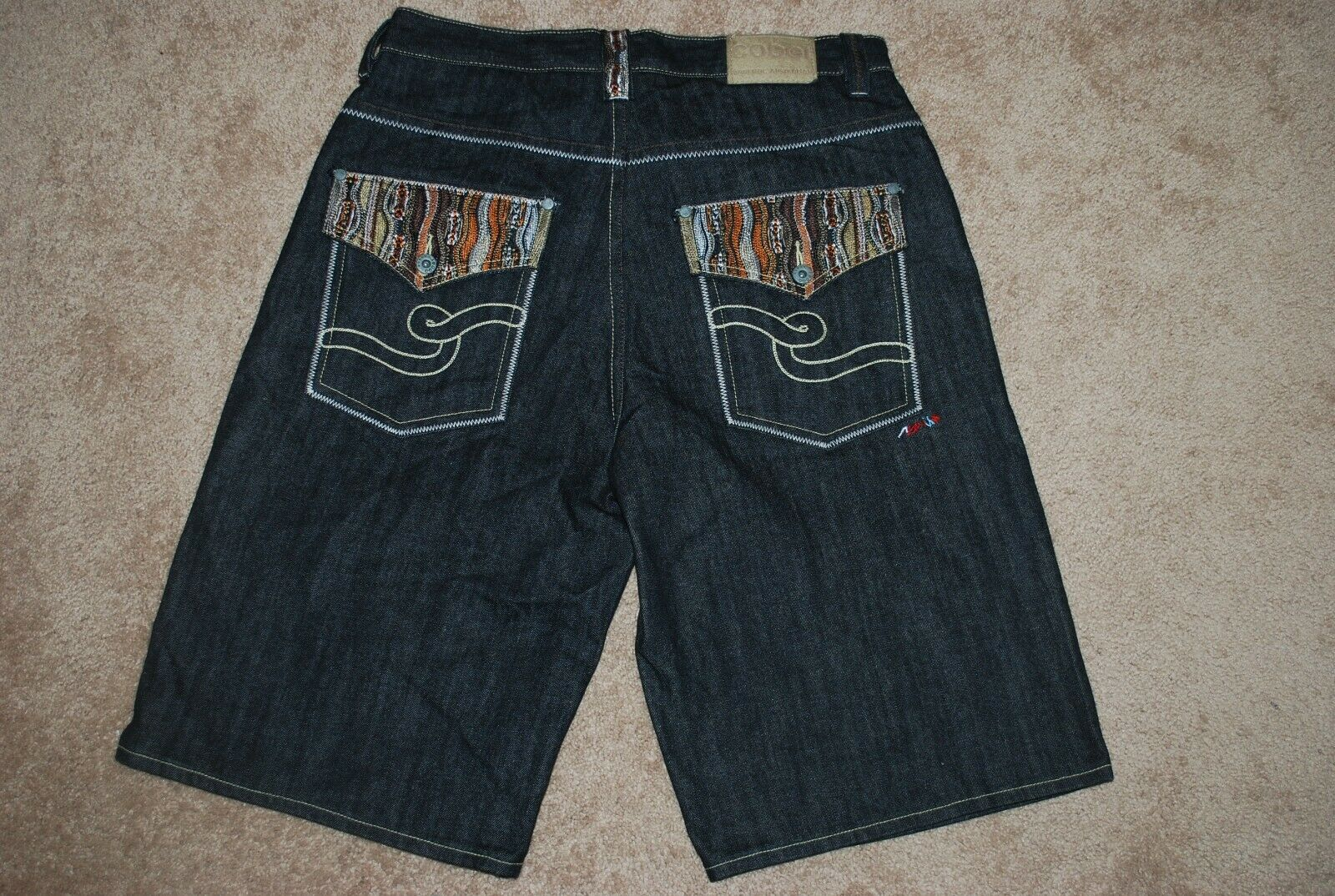 RARE Men's COOGI Biggie Sweater Denim Jean Shorts (36)