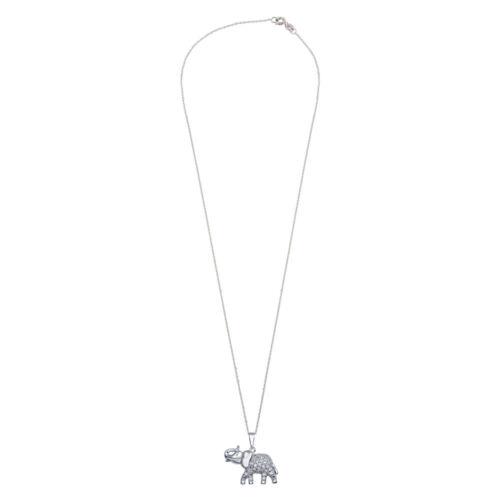 Sterling Silver Necklace w// CZ Stones Elephant Pendant