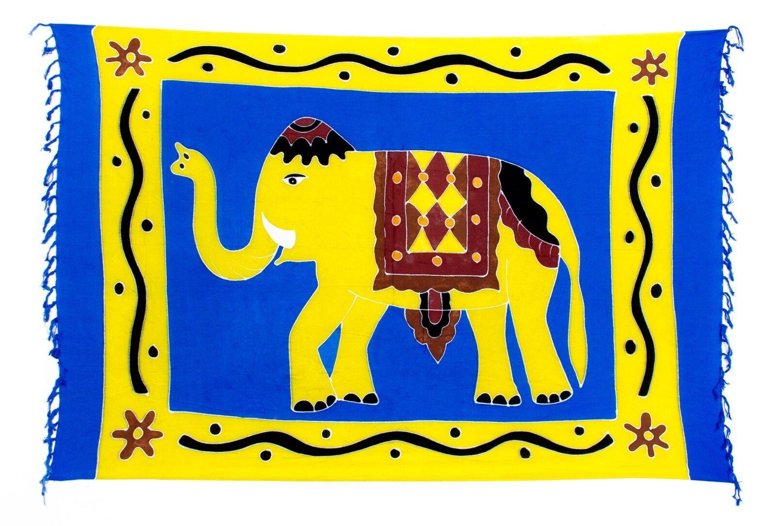 Sarong / Pareo / Strandtuch - Blau Gelb mit Elefant Motiv
