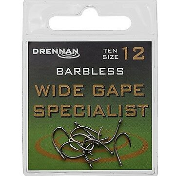 Drennan Barbless Wide Gape Carp Hooks To Nylon Free P/&P