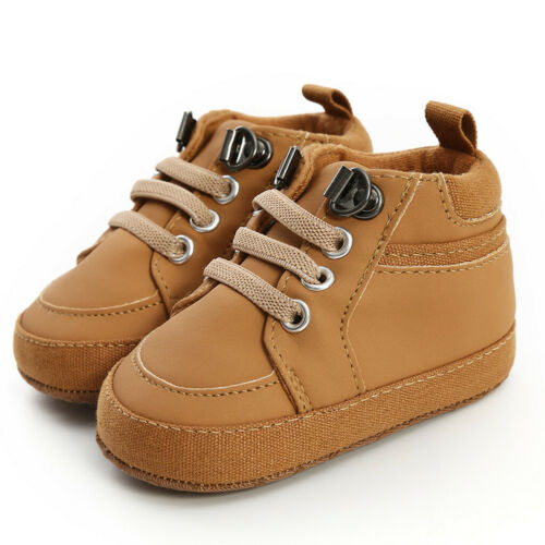 0-18M Toddler/'s Babys Girls Boys Solid Lace-Up First Walkers Kids PU Shoes Boots