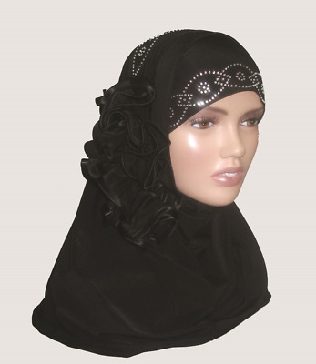 Fancy Two pieces Flower Hijab Head wear cover scarf Islamic dress High Quality