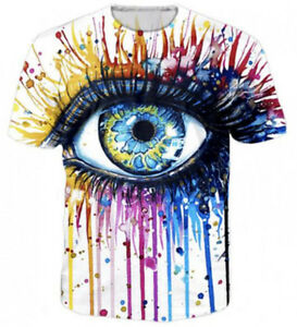 Women-Men-cool-watercolor-Eye-paintings-3D-T-Shirt-Tops-Tee-Casual-Short-Sleeve