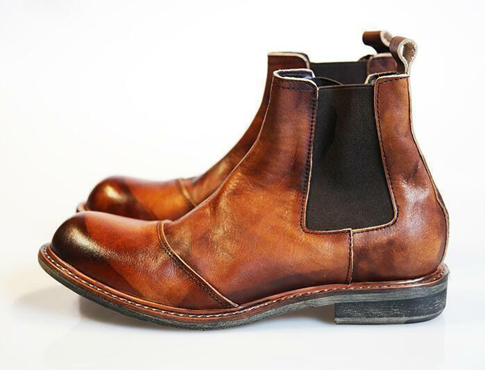 Men Real Leather Chelsea Ankle Boots High Top Platform Casual shoes Retro W1029