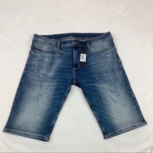 Diesel Nuevo Para Hombre Thashort Jeans Pantalones Cortos Denim Azul Bermuda Ligeramente Envejecido Ebay