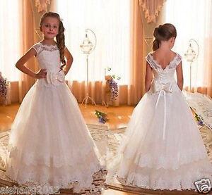 aed6988380b3b Fille Communion Bal Soirée Princesse Miss Mariage Robe Demoiselle D ...