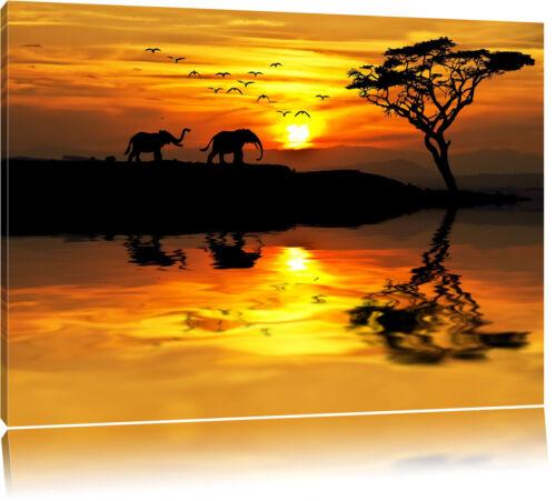 Elefanten in Afrikanischer Steppe  Leinwandbild Wanddeko Kunstdruck