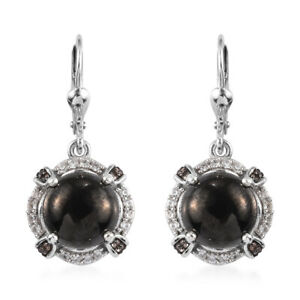 925 Sterling Silver Platinum Over Karelian Shungite Zircon Drop Earrings Ct 5.9