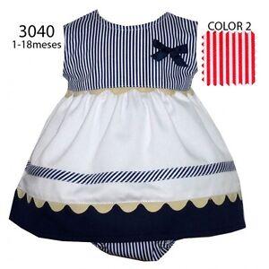 Baby girl ROMPER suit sailor nautical Spanish style NAVY