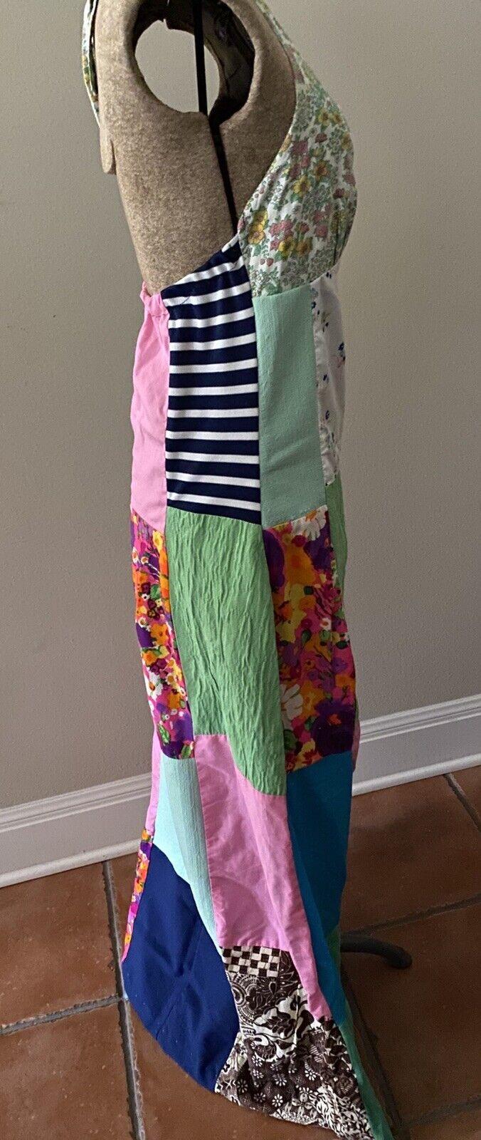Vintage Handmade 60s Floral Patchwork Quilt Dress… - image 2