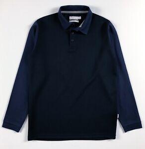 Calvin-Klein-Polo-Shirt-homme-Slim-Fit-a-manches-longues-bleu-bleu-marine-couleur-bloc
