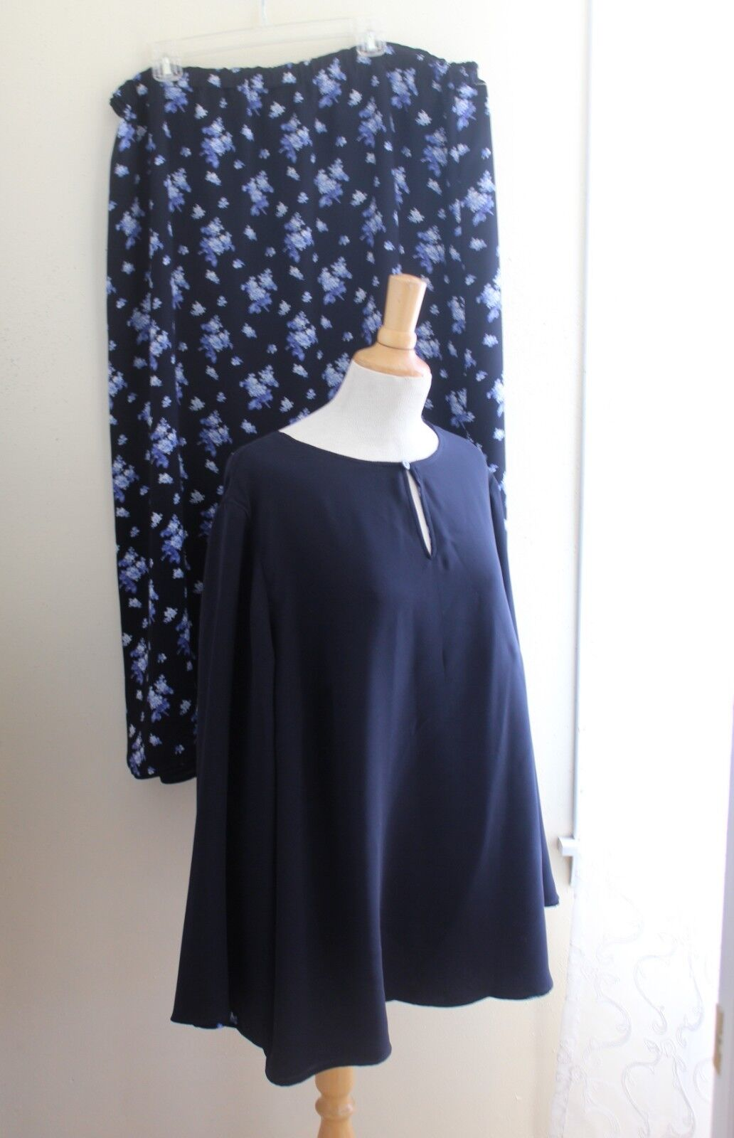Liz Claiborne Sz 3X 2X Artsy Navy Reversible Tunic Top Shirt + Skirt Set Outfit