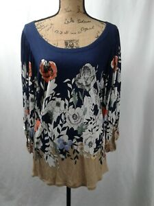 Deletta-Anthropologie-Floral-Print-Bell-Sleeve-Navy-Blue-Blouse-Shirt-Top-LARGE
