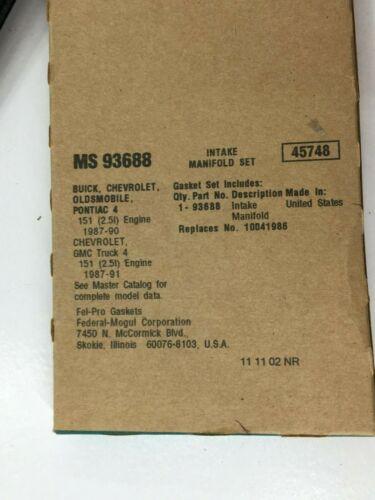 FEL-PRO MS 93688 ENGINE INTAKE MANIFOLD GASKET SET FITS GM GMC 151 2.5L 4 CYL.