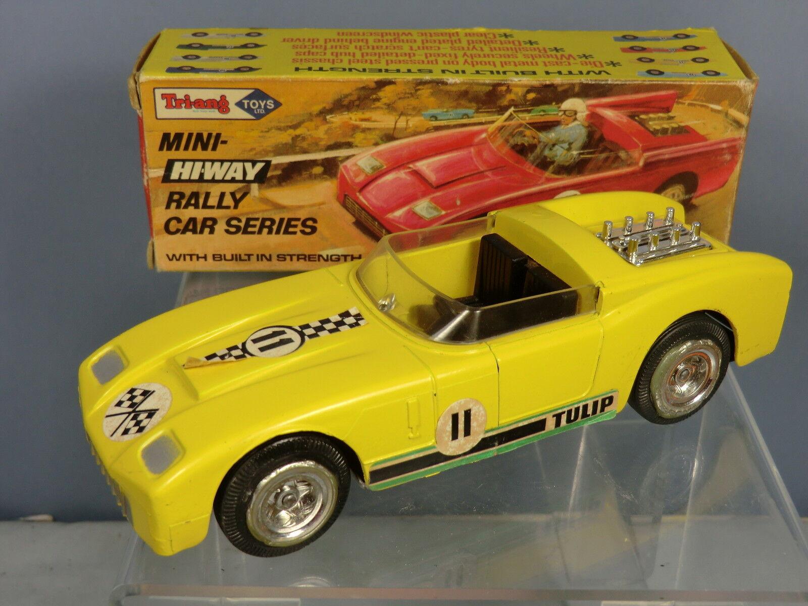 Vintage Tri-ang  Mini Hi-Way Prensa de Acero  Tulipán  coche de Cochereras VN MIB
