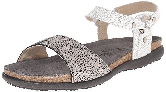New  Woman's Silver & WEISS Naot 'Sabrina' 5 Flat Leder Sandales Größe 5 'Sabrina' EU36 88a234