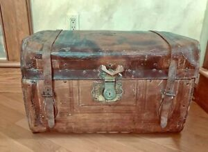 Antique Leather Chest Estate Piece