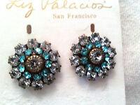 - Liz Palacios Silver Swarvoski Crystal Medium Florette Flower Earrings