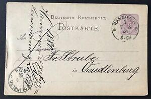 Dt-Reich-Ganzsache-Hannover-nach-Quedlinburg-1880