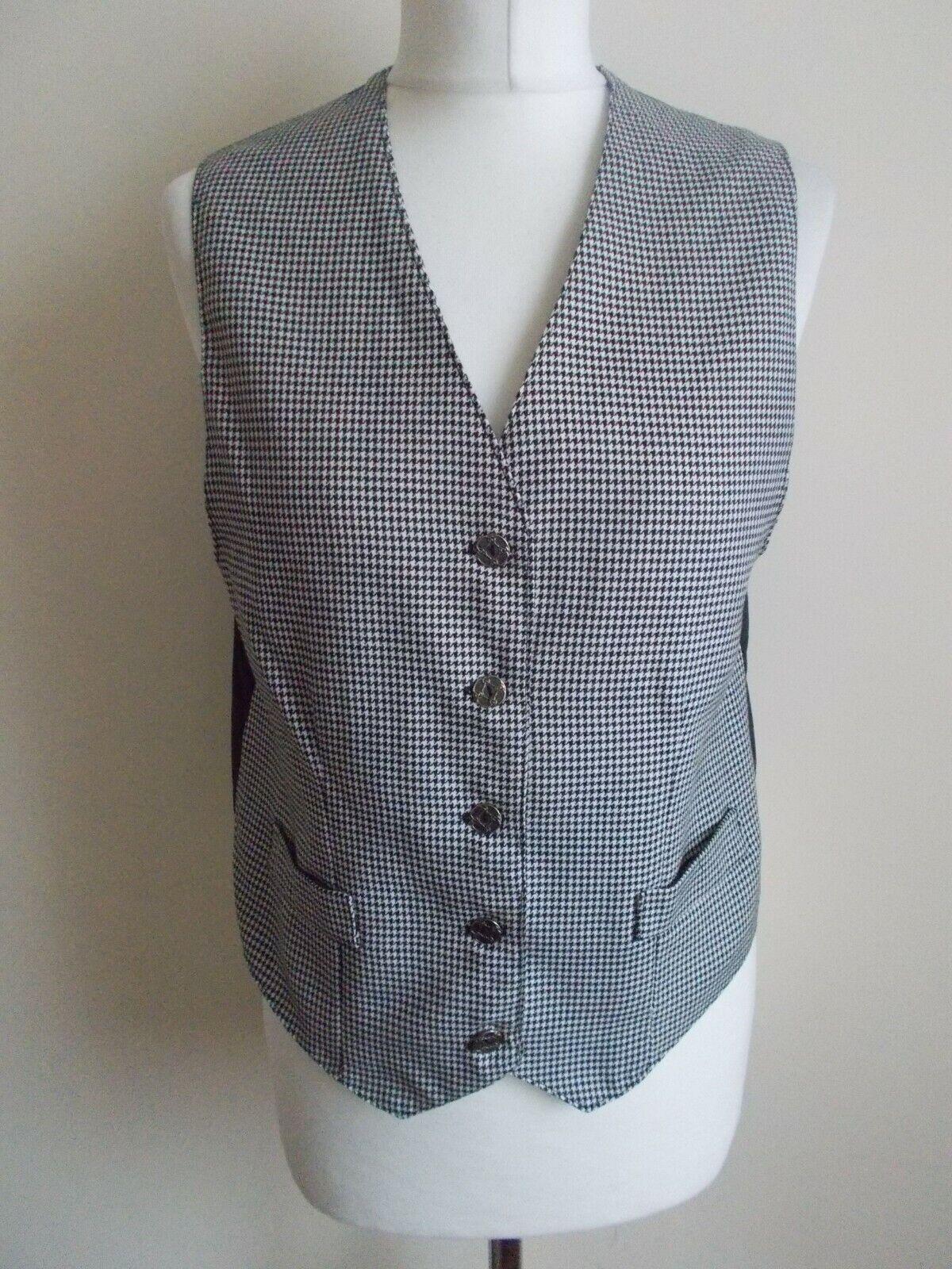 Women's Black White Dogtooth V Neck Waistcoat Vest By First Avenue Size 12