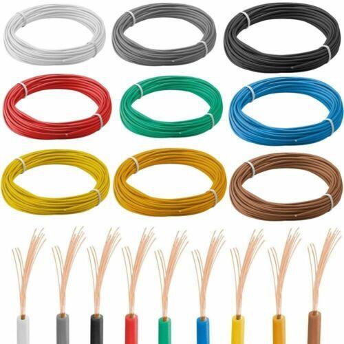 Strom Kabel 10m Kupferlitze 0,14 mm² einadrig Leitung isoliert 0,49€//m