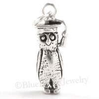 3d Graduation Owl Cap Wise Wisdom Animal Charm Pendant 925 Sterling Silver