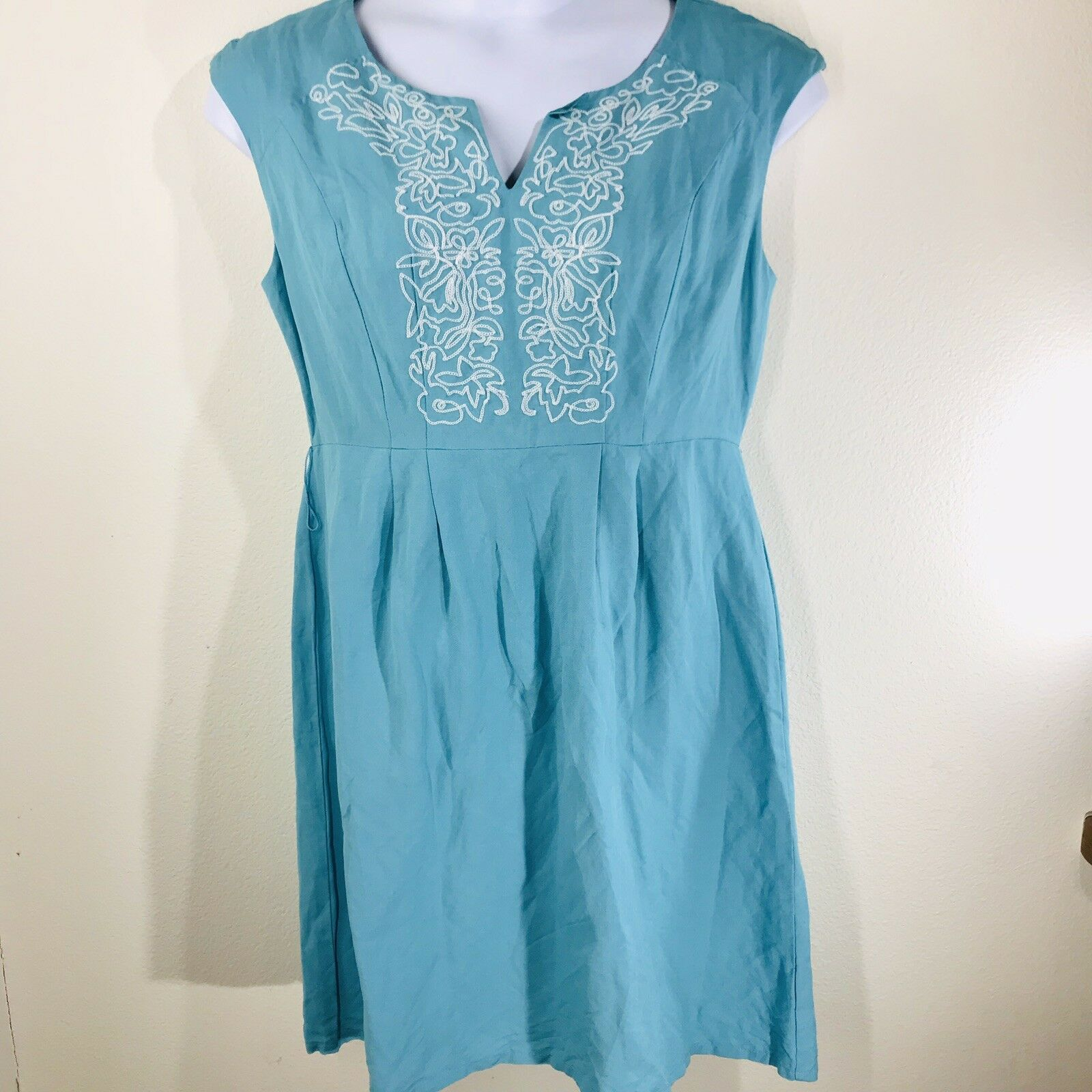 Appraisal Teal W  White Embroidery Sleeveless Dress Size 10