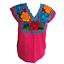 Floral-Mexican-Blouse-Embroidered-Made-in-Mexico-Handmade-Cotton-Pink thumbnail 4