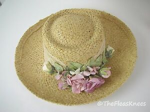 GARDEN-PARTY-Straw-Hat-by-CAPPELLI-Pink-Flowers-amp-Lace