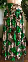 Lady Mia's Of Africa Women's African Skirt Long Medium Green Cotton Wax
