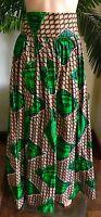 Lady Mia's Of Africa Women's African Skirt Long Medium Green Cotton Wax