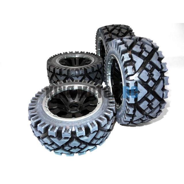 King Motor All Terrain Tires on Poison HD Rims (Set of 4) Wheels Fit HPI Baja 5B