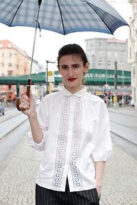 Weiß Bluse 80´s Blouse True Vintage Stickerei Ddr Plauen Konfektion Veb 80er FqwxXAtca