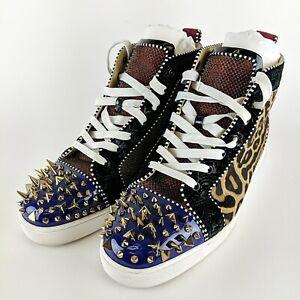 CHRISTIAN-LOUBOUTIN-Paris-Multicolor-amp-Pattern-Spike-Hightop-Sneakers-Size-45