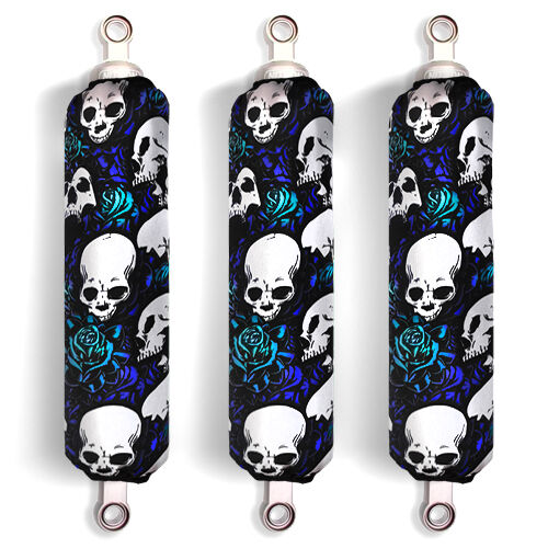 Set of 3 NEW Blue Skull Shock Covers Polaris Outlaw 90 Sportsman 90 Racing