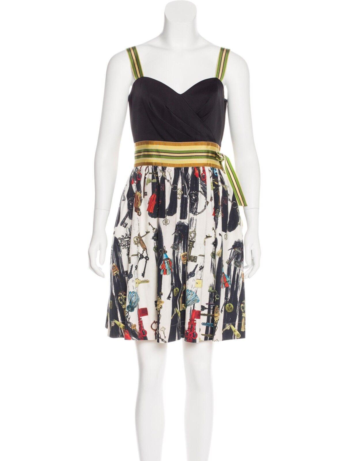 DIANE VON FURSTENBERG DVF  Caran Ribbon Trim Mixed Keys Dress Größe 6