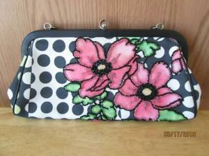 AUTHENIC-BEAUTIFUL-ISABELLA-FIORE-BEADED-PINK-FLOWERS-WITH-POLKA-DOTS-PURSE