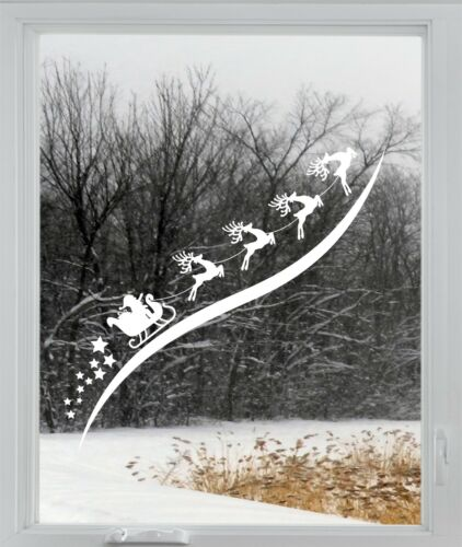 Santa Sleigh Christmas Reindeer Rudolph Window Sticker Vinyl Decal Decoration 1m