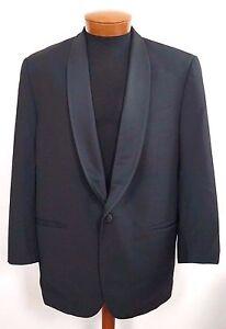 MARZOTTO SARTORIALE Black Virgin Wool TUXEDO Formal Blazer Jacket 46 ITALY