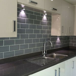 Ordinaire Image Is Loading Grey Metro Brick Effect Polished Ceramic Wall Tiles